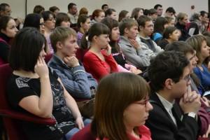 Студенты ГГПИ и гости  на пленарном заседании конференции.